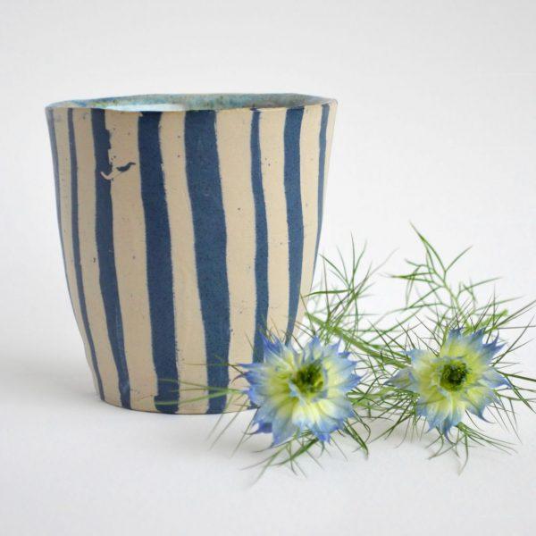 "Kaffeebecher ""white and blue stripes"""